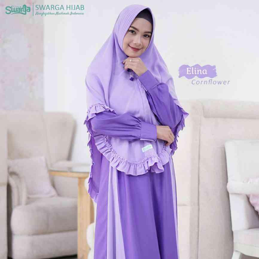 Swarga Hijab Gamis Elina Cornflower Set