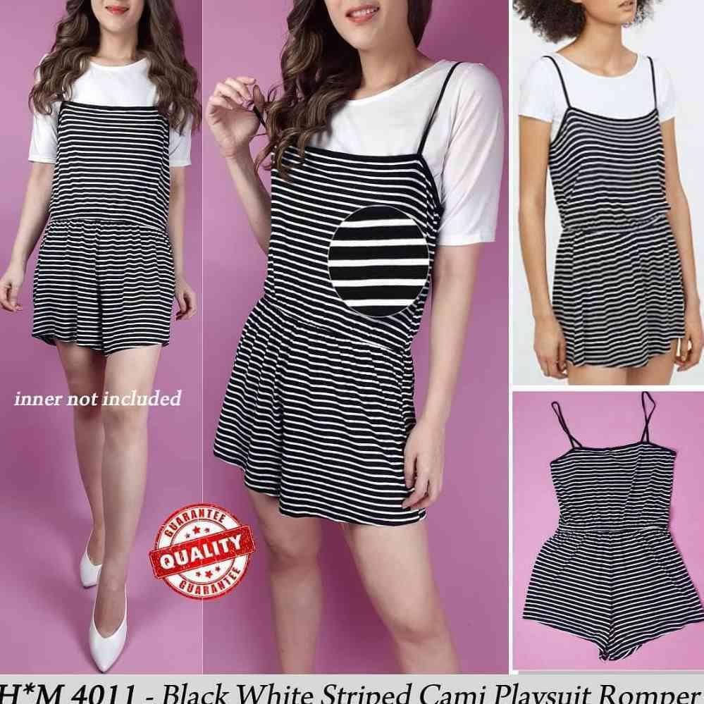 2d2d6646b0b N804 Hnm black white striped cami playsuit romper E25