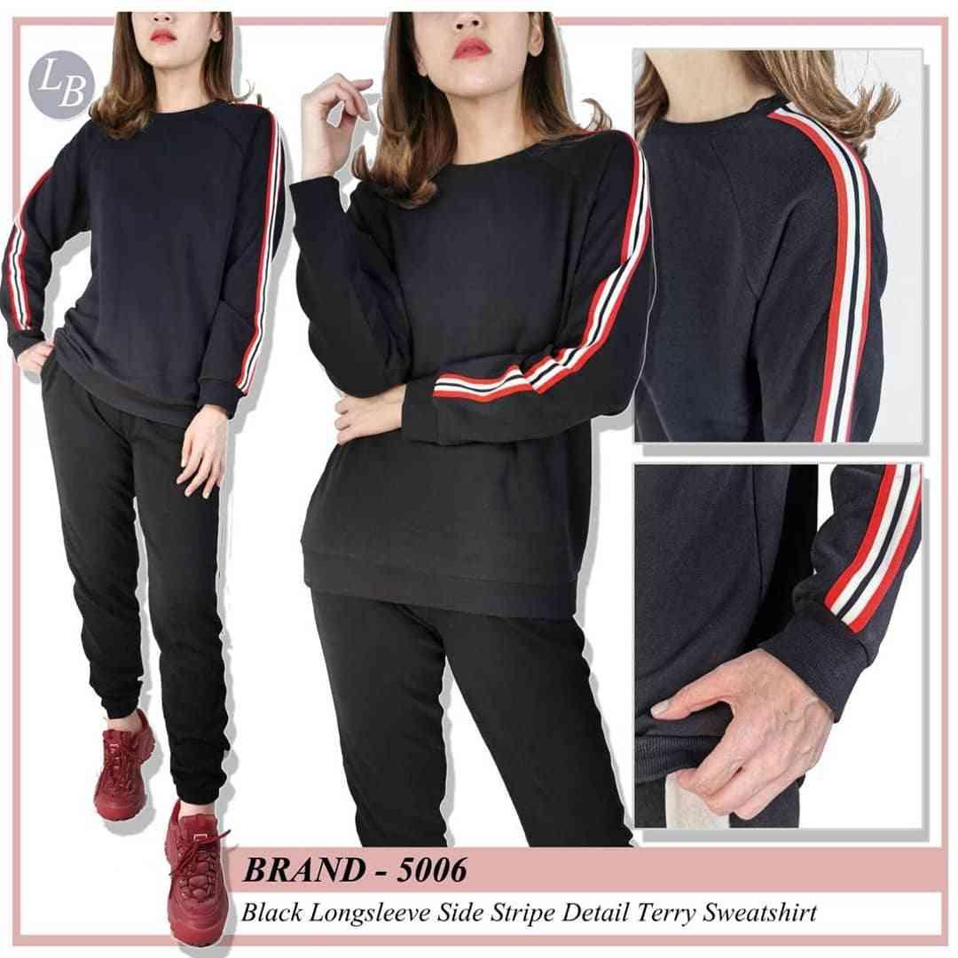 buy popular wide varieties latest releases RiejuFashion | T003 Uniqlo black sweatshirt trim list red ...